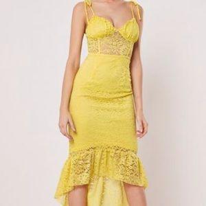 Lemon lace cami tie strap dip hem midi dress